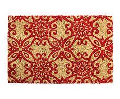 Felpudo de coco y PVC, rojo y beige - 60x40 cm