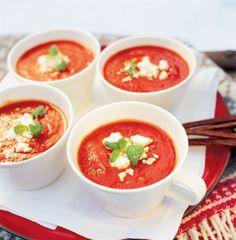 Tomaatti-vuohenjuustokeitto, kokeiltu ja hyvä ilman jeeraakin