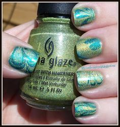 China Glaze Lazer Lime, Techno Teal, Hologram water-marble for Lyme Awareness