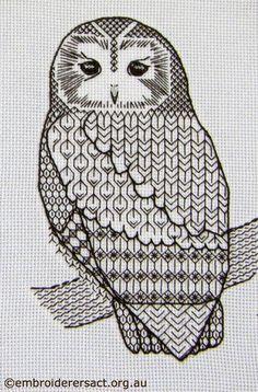 Blackwork owl stitched by Irene Burton