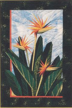 """Birds of Paradise - Foundation Paper Piecing Pattern - 24"""""""" x 36"""""""" Quilt"""