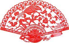 Chinese PaperCut, Bird on Fan 720001244
