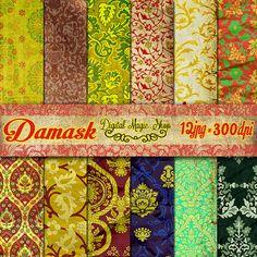 12 Crumpled Paper Damask Digital Paper Pack by DigitalMagicShop