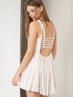 Summer Sexy Fashion Wild Solid Color Backless Sundress 2015