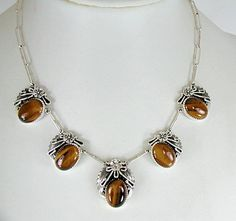 Authentic Native American Tiger Eye necklace  and earrings set by Navajo Peterson Johnson