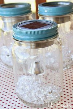 DIY Solar Light Mason Jars light crafts dollar stores DIY Solar Light Mason Jars - U Create Mason Jar Solar Lights, Mason Jar Lighting, Jar Lights, Mason Jar Lanterns, Bottle Lights, Diy Solar, Solar Light Crafts, Mason Jar Projects, Mason Jar Crafts