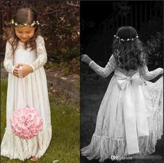 2015 Lace Long Sleeve White Girl Flower Dresses Bow A line Floor Length Baby Formal Occasion First Communion Party Prom Skirt Cheap