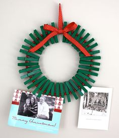 Awesome Holiday Craft Idea: Clothespin Wreatht this is such a good idea for all the Christmas cards we get! @Debbie Arruda Arruda Arruda Bria