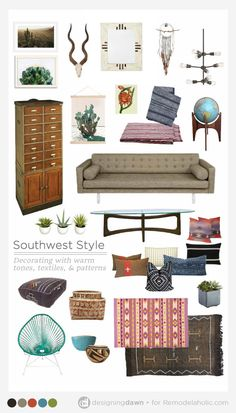 Update traditional Southwest style decorating with these tips for mixing it up to be modern and fresh while still keeping the classic warmth and textures of the area. Southwest Style, Modern Southwest Decor, Southwest Bedroom, Southwestern Home, Southwestern Decorating, Southwest Usa, Barndominium, Home Decor Bedroom, Living Room Decor