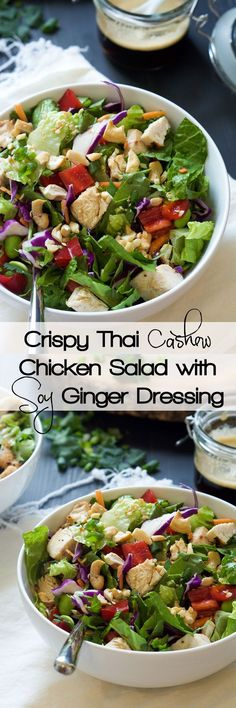 This simple chopped Crispy Thai Cashew Chicken Salad has robust flavors of soy, honey, peanut butter, ginger and red pepper flakes. Then tossed with chicken and fresh vegetables, topped with cilantro, green onions and crunchy cashews!