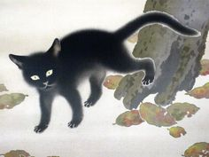 "Hishida Shunsō (Japan, 1874-1911) - ""Autumn (Cat with persimmon tree)"", 1910 - Detail of the cat"