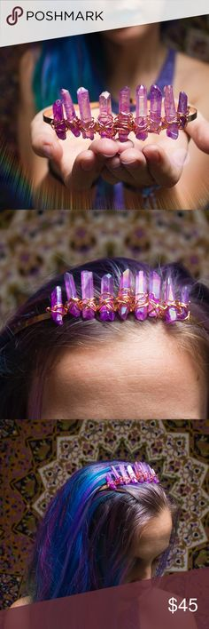 Purple Haze Hologram Wirewrapped Fairy Crown  Handmade by me  9 gorgeous pink/purple haze #hologram titanium Quartz crystals with splashes of muted #rainbow throughout #wirewrapped with pink wire onto a rose gold colored metal headband Made to be as sturdy as can be, this #tiara #crown is perfect for #festivals, #costumes, #weddings, dress up, game of thrones #cosplay, and everyday wear if you wanna add some #Crystal #magic to your style ✨ last pic shows premade and ready to ship…