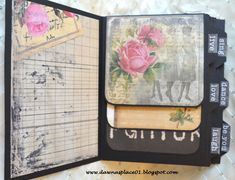 Romantic Vintage Parisian Inspired Envelope Mini Album I like the border on the top and bottom as well as the waterfall pages