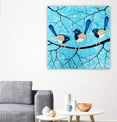New - Blue Wrens textural painting. 61cm x 61cm. Inspired by my love of nature and living in the Adelaide Hills. I love to watch these boys play around in our garden and eating bugs from our windows. They are just amazing to watch and so stunning. Ive used heavy textures both to build up the background and the actual birds making them lift from the painting. Silver foils adds a interesting finish.