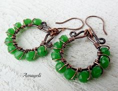 Artisan wire wrapped copper earrings. Starting at $15 on Tophatter.com!