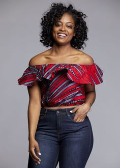 African Print Tops - African Clothing from D'iyanu Dunni African Print Off the Shoulder Ruffle Top (Red/Grey) African Fashion Designers, African Print Fashion, Africa Fashion, African Fashion Dresses, Fashion Prints, Fashion Outfits, African Prints, Fashion Ideas, Fashion Styles