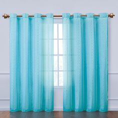 These Abbey Grommet Panels are available in an array of bright colors. The sheer styles are made with metal grommets for a sophisticated, clean look. From top to bottom these curtains are sure to glamorize any home decor.