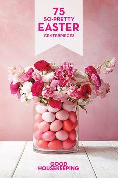 Cute pink florals meet Easter eggs.