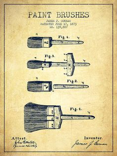 Paint brushes Patent from 1873 - Vintage Art Print by Aged Pixel. All prints are professionally printed, packaged, and shipped within 3 - 4 business days. Thing 1, Vintage Art Prints, Patent Prints, Paint Brushes, Vintage Images, Pixel Art, Art Decor, Framed Prints, Blue Prints