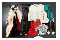 Cruella Villains by leslieakay on Polyvore featuring polyvore, fashion, style, TFNC, Ichi, Betsey Johnson, Bardot, Otazu, Janis Savitt, Disney and clothing
