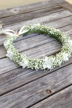 Baby's Breath Crown, Ivory Flowers Crown - Real Dried Floral Hair Wreath, Toddler flower crown ,Rustic floral crown - Gifts For Love Real Flowers, Floral Flowers, Flowers In Hair, White Flowers, Wedding Flowers, Floral Wreath, Wedding Rings, Floral Hair, Floral Crown