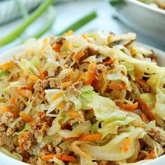 Egg Roll in a Bowl - quick and easy low-carb dinner made with ground chicken, pork or turkey, coleslaw mix, more veggies and Asian sauce. Healthy Low Carb Dinners, Healthy Dishes, Healthy Recipes, Healthy Food, Cabbage And Sausage, Sausage And Egg, Vegetable Egg Rolls, Vegetable Dishes, Sausage Recipes