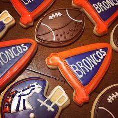 Denver Broncos decorated cookies www.Facebook.com/cocossugarshack