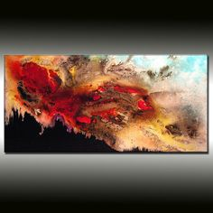 Original Landscape Abstract Painting Modern Abstract Contemporary Sunset Painting by Henry Parsinia Ready to Hang 48""