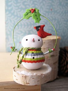 www.swirlydesigns.com Handmade polymer clay designs. #Christmas #snowman #polymerclay