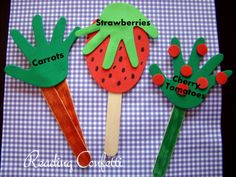 Cute for a kid's garden: Handprint Garden Markers (this page is part of a link party so it also links to over 100 other blogs with ideas for kids.)