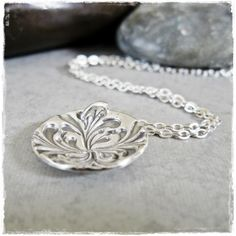 Baroque Embossed Fine Silver Metal Clay Pendant on Sterling Silver Chain by RMDJewellery on Etsy. $30.00, via Etsy.