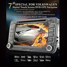 """7 """"2 DIN pantalla táctil lcd reproductor de DVD del coche para Volkswagen con el poder-autobús, bluetooth, GPS, iPod, entrada, rds, radio, atv – USD $ 169.99"""