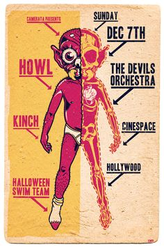 GigPosters.com - Devils Orchestra, The - Howl - Kinch - Halloween Swim Team