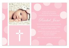 Pink Baby Girl Baptism / Christening Invitation with Photo auf Etsy… Christening Thank You Cards, Baptism Cards, Christening Invitations, Baptism Themes, Baptism Ideas, Baby Girl Baptism, Girl Christening, Owl 1st Birthdays, Girl Themes