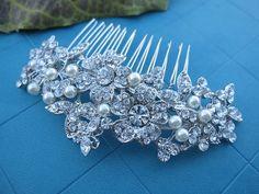 Bridal hair comb,Vintage Style Swarovski Crystal Headpiece, Wedding Flower Hair Comb Accessories, Clear Rhinestone Bridesmaid Jewelry on Etsy, $29.59 AUD