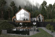 Modern Home Decor Forest house on Behance.Modern Home Decor Forest house on Behance House In Nature, House In The Woods, Dream Home Design, Modern House Design, Modern Houses, Natur House, Casa Top, Contemporary Style Homes, Forest House