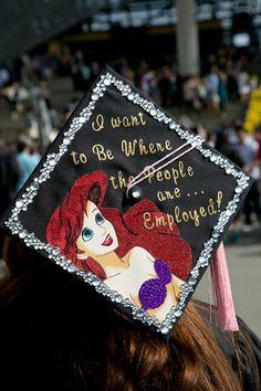 graduation cap decoration - Disney, The Little Mermaid, I want to be where people are. Disney Graduation Cap, Funny Graduation Caps, Grad Cap, College Graduation, Graduation Pictures, Disney Love, Disney Magic, Disney Stuff, Disney Diy