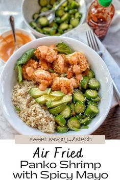 Ww Recipes, Seafood Recipes, How To Clean Shrimp, Fried Shrimp, Cucumber Salad, Air Fryer Recipes, Fries, Spicy, Poke Bowl
