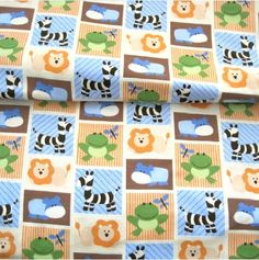 Colorful Animal Zoo Baby Jersey Cotton Flannel Fabric DIY Cloth Fabric #wholeport #faric