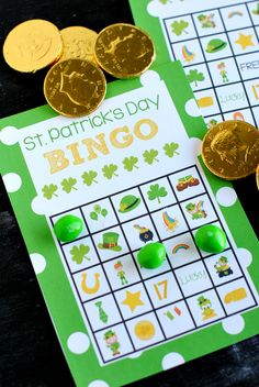 Printable St. Patrick's Bingo Cards to play on St. Patrick's Day.