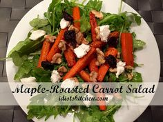 Maple-Roasted Carrot Salad -Roasting concentrates the flavor of vegetables and in carrots makes them even sweeter and more delicious. I've made roasted carrots a zillion times but it never occurred to me to put them on a salad. Roasted Carrot Salad, Roasted Carrots, Top Salad Recipe, Salad Recipes, I M So Hungry, Boiled Cabbage, Corned Beef, Kitchen Recipes, Thanksgiving Recipes