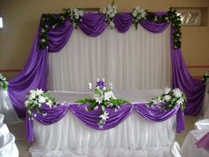 Purple And Silver Wedding, Purple Wedding Flowers, Backdrop Decorations, Wedding Reception Decorations, Wedding Stage Backdrop, Bridal Table, Beach Wedding Favors, Backdrops For Parties, Deco Table