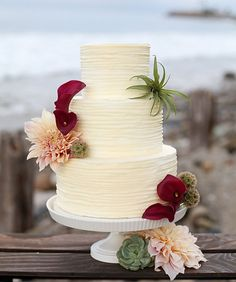 Summer beach wedding cake with textured buttercream and gorgeous florals | by The Butter End Cakery