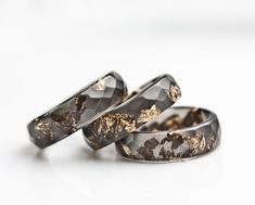 Resin Ring Black Gold Flakes Small Faceted Ring OOAK dark gray glam minimalist jewelry neutral rusteam