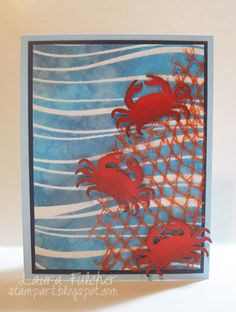 ...a beach card I made with the new Costal Crab die (98988).  o make the card, I took some white cardstock, placed the Texture Wave stencil (88520) on top and sponged four shades of blue Distress Ink through the stencil (Tumbled Glass, Salty Ocean, Broken China, Chipped Sapphire).