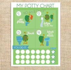 Printable PDF Instant Download Turtle Potty Training Chart Boy or Girl