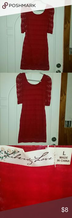 ☇Liberty Love Fitted Red Dress☇ Lace. Size Large Liberty Love Dresses Mini
