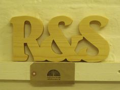 Custom pine wood wedding letters valentine freestanding joined with ampersand