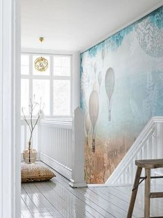 Balloon City wall mural from Mr Perswall by Sanna Wieslander in the wallpaper mural collection Street Art. Customize and order wall murals online. Photo Wallpaper, Wall Wallpaper, Amber Room, Scandinavian Wallpaper, Cool Kids Rooms, Beautiful Wall, Beautiful Interiors, White Walls, Wall Prints
