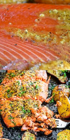 salmon recipes This easy Baked Lemon Pepper Salmon recipe features roasted potatoes and the most amazing garlic lemon butter sauce. With only 6 ingredients, minimal prep, and BIG flavor, this sheet pan dinner is guaranteed to be on your weekly rotation. Healthy Salmon Recipes, Seafood Recipes, Mexican Food Recipes, Cooking Recipes, Salmon With Skin Recipes, Sauce For Salmon, Grilled Salmon Recipes, Easy Fish Recipes, Sushi Recipes